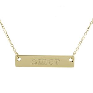 """Picture of Gold 'Amor' Bar Necklace - 16"""""""